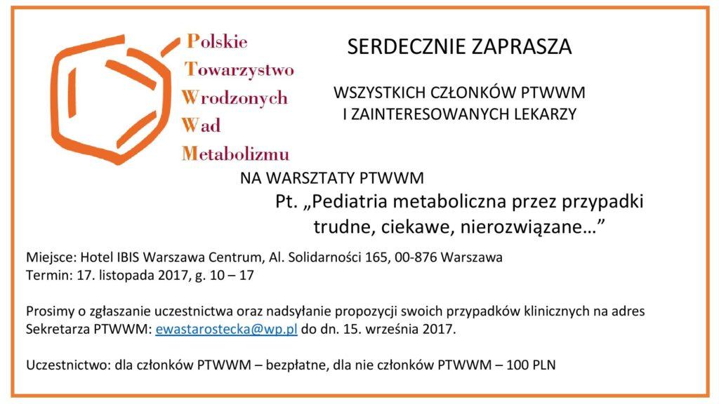 Zaproszenie na warsztaty PTWWM