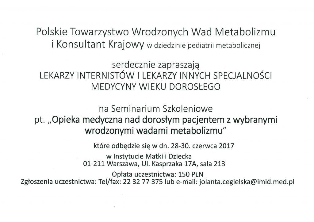 Zaproszenie na Seminarium Szkoleniowe